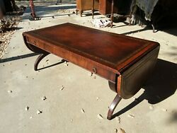 Vintage Leather Top Drop Leaf Coffee Table Gold Edge Drawer Home Decor High End