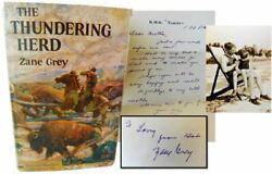 Zane Grey The Thundering Herd Signed To His Son With Signed Letter And Photo