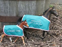 ZENYATTA amp; COZMIC ONE blanket set TB embroidered Breyer thoroughbred race horse