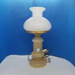 Vintage Murano Glass Base And Shade Art Deco Boudoir Table Lamp Works Small Accent