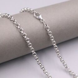 Real 18k White Gold Chain For Women Man Male Big Rolo 4mm Necklace 25.6''l