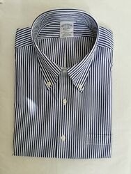 Brooks Brothers Regent Fitted Dress Shirt, Non-iron Bengal Stripe 17 Collar