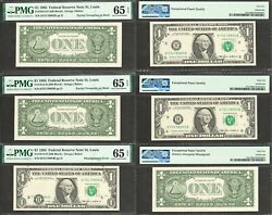 1 1985 Frn Multiple Errors 3 Consecutive Notes Pmg Gem Uncirculated 65epq