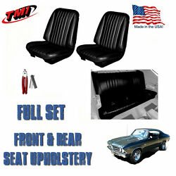 1968 Chevelle Front/rear Black Seat Upholstery And Hog Ring Install Pliers Kit