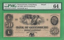 18xx The Bank Of Gettysburg, Pa 50 Proof Note Graded Pmg 64