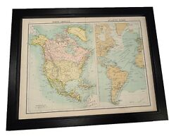 Antique Framed Citizen's Atlas World Map From The 1890's North America