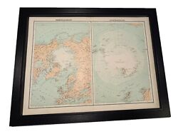 Antique Framed Citizen's Atlas World Map From The 1890's North Pole And South Pole