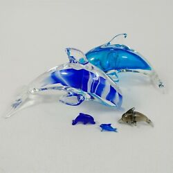 5 Murano Style Hand Blown Art Glass Blue Dolphins Figurines 1, 1-1/2, 6