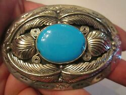 Heavy Silver Plated Belt Buckle - Marked Navaho - 4 X 2 3/4 - Tub Cr
