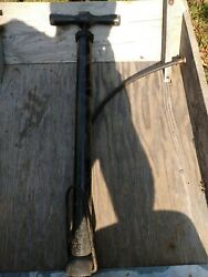 Vintage Bicycle Hand Bike Tire Air Pump Made In Usa Wood Handle Antique Decor