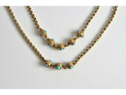 Antique Victorian 15ct Gold Double Belcher Chain Turquoise Bead Necklace