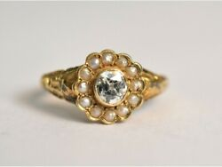 Exquisite Late Georgian 18ct Gold Old Mine Cut Diamond And Natural Pearl Ring