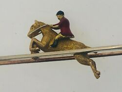 1952 Vintage 9ct Gold Jumping Horse Fox Hunting Tie Pin Brooch 4.78g 50.8mm