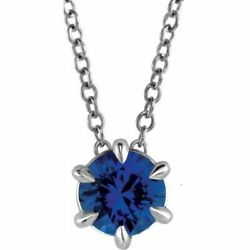 Blue Sapphire Solitaire 16-18 Necklace In Sterling Silver