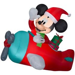 Airblown Holiday 4.5 Ft Prelit Hanging Inflatable Mickey In Plane Scene