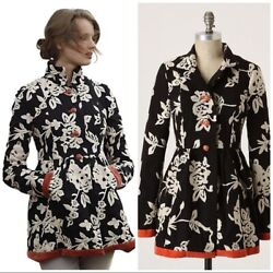 Rare Anthropologie Plenty By Tracy Reese Phlox And Coral Embroidered Jacket Sz 4