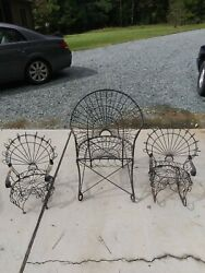 Vintage Wrought Iron Twisted Wire Metal Outdoor Furniture