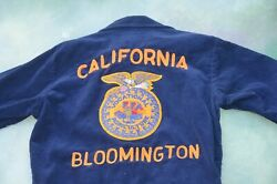Vintage Ffa Vocational Agriculture Bloomington Ca Menand039s Corduroy Jacket Size 34.