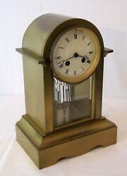 Antique Brass French Crystal Regulator Shelf Clock Japy Freres Caldwell And Co.