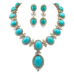 925 Sterling Silver Turquoise Round Halo Vintage Style High Necklace Earrings
