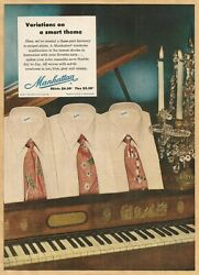 Manhattan Shirts And Ties - Variations On A Smart Theme - 1952 Vintage Print Ad