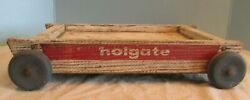 Vintage Holgate 1950s Wooden Pull Wagon Kids Toy