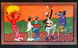 John Sperry Southern New Orleans Jazz Musicians Folk Art Painting The 2nd Line
