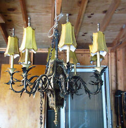 Antique French Wrought Iron 8 Arm Chandelier Silk/satin Shades Hand Painted