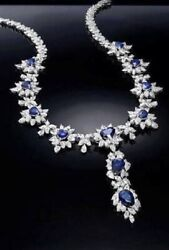 925 Sterling Silver Blue White Beautiful Handmade Wedding Bridal Necklace