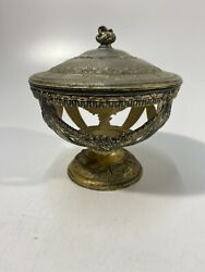 Made In Japan Antique Silver Rose Potpourri Opened Bowl W/ Lid 4 Tall