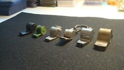 Lot 6 Vintage Whistles - Metal And Plastic - Advertising - Dragnet - Brass - Tin