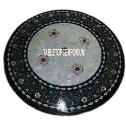36 Black Marble Dining Table Top Multi Floral Inlay Mosaic Home Decorative