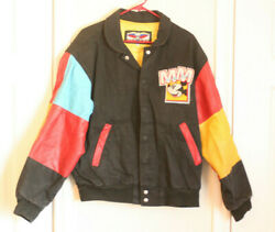 vintage Disney Leather Jacket Mickey Mouse Patch Minnie donald pluto medium $79.00