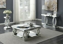 Contemporary Mirrored Acrylic Occasional 3-piece Coffee Table Set