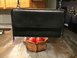 Patricia Nash Crossbody Wallet Organizer Small Black Leather Removable Strap GUC $21.00