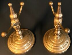 Very Very Heavy Cast Brass Sophisticated Fireplace Tools Rest Andirons Accessory