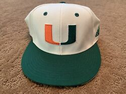 """Miami Hurricanes Adidas Game Used Baseball Fitted Hat 7 1/8 21 """"sc"""""""