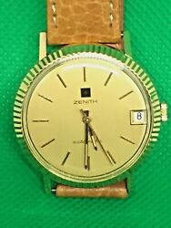 1970s Year Zenith 18k Solid Gold Swiss Made Automatic Vintage Wrist Watch 34mm
