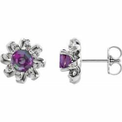 Chathamandreg Created Alexandrite And 1/6 Ctw Diamond Earrings In Sterling Silver