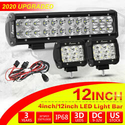 Offroad Led Light Bar 4/12inch Spot Flood Combo Kit With On/off Wiring Harness