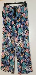 Robert Louis Women's blue and floral Pull On Wide Leg Pants Size L $18.97