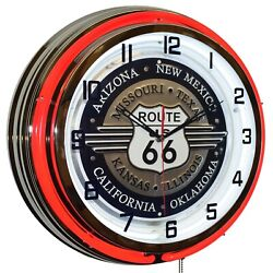 19 Route 66 Sign Red Double Neon Clock Garage Man Cave Decor