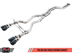 Awe Tuning Resonated Track Edition Exhaust - Chrome Silver Tips 102mm For Bmw