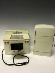Vintage 50s Little Chef Play Kitchen Stove And Refrigerator Fridge Toy Metal Mcm