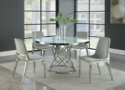 Modern 5-piece Dining Set Round Table White Glass Top Stainless Steel Chrome