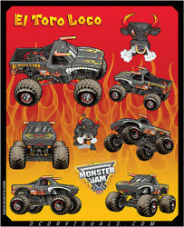 D'cor Monster Jam Decal Sheets El Toro Loco Red 40-90-207