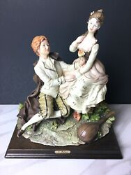 Vintage A. Belcari Woman And Man Couple Figurine Music Lyre Roses Made In Italy