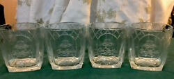 Crown Royal Cathedral Clear Embossed Square Base Rocks Glasses 4 Italy Mint