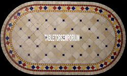 4'x3' Rare Marble Top End Table Marquetry Inlay Beautiful Giving Gifts Decor Art