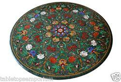3'x3' Green Marble Top Dining Table Semi Precious Inlay Marquetry Art Patio Art